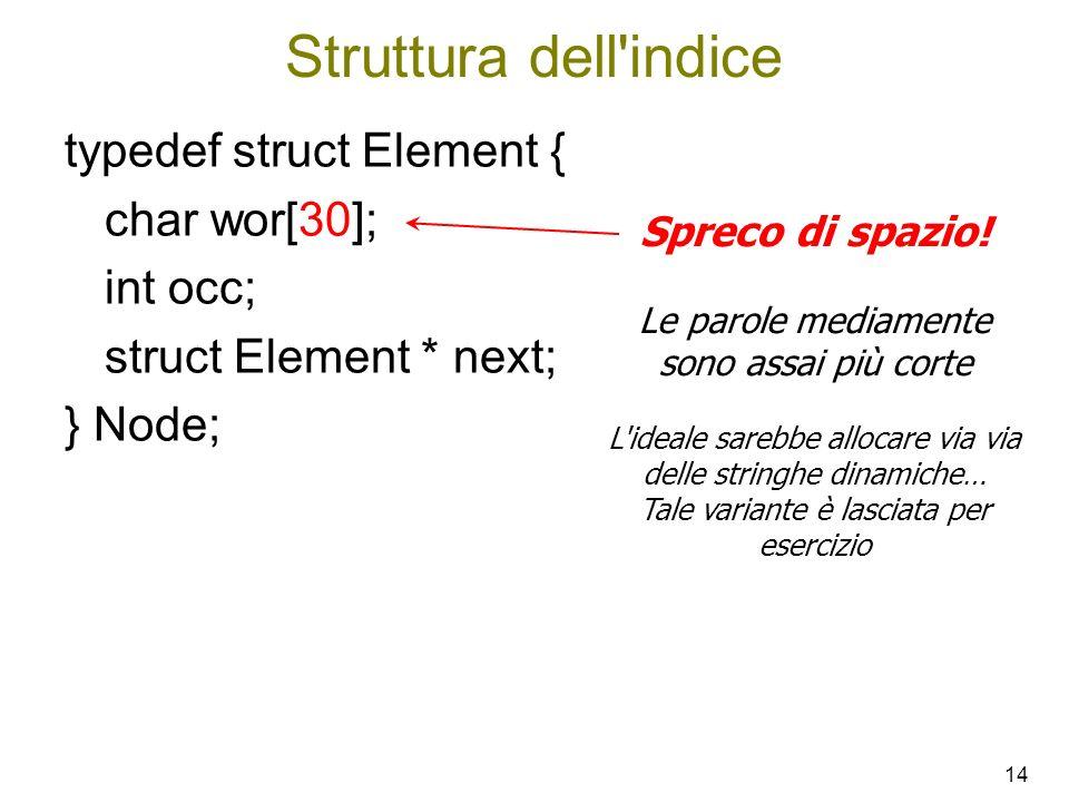 Struttura dell indice typedef struct Element { char wor[30]; int occ;